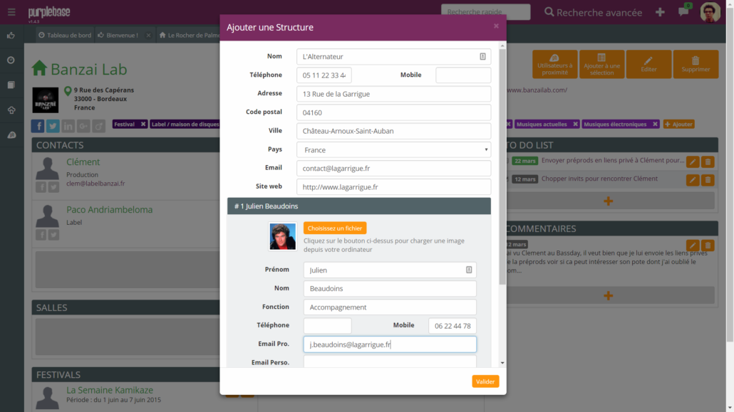 Ajout structure Purple Base booking indépendant émergent