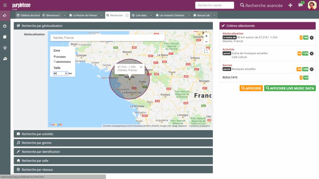 Recherche avancée purple base booking indé